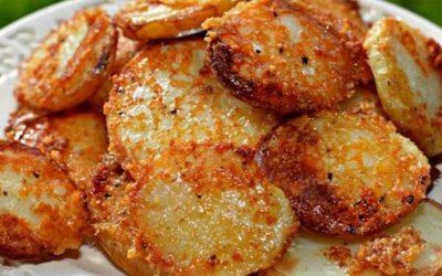 Rondelles de Pommes de terre gratinées au parmesan